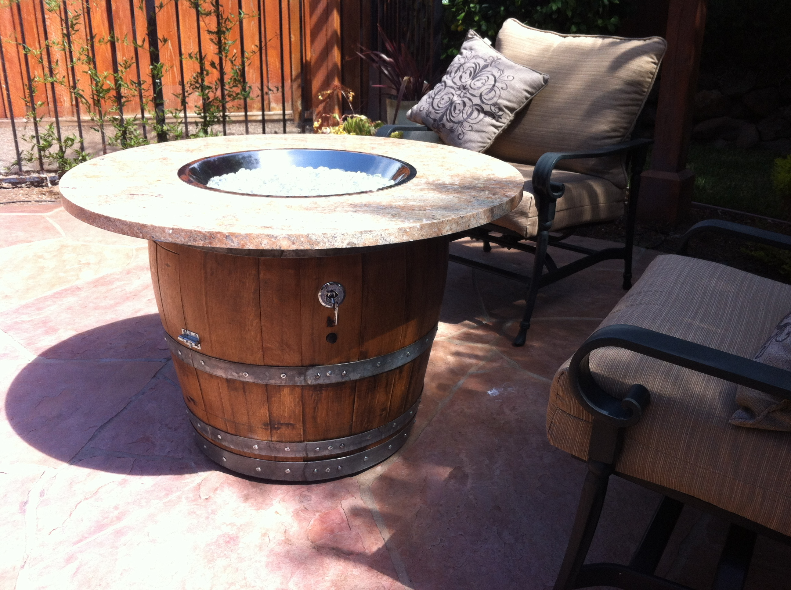 Wine Barrel Fire Table