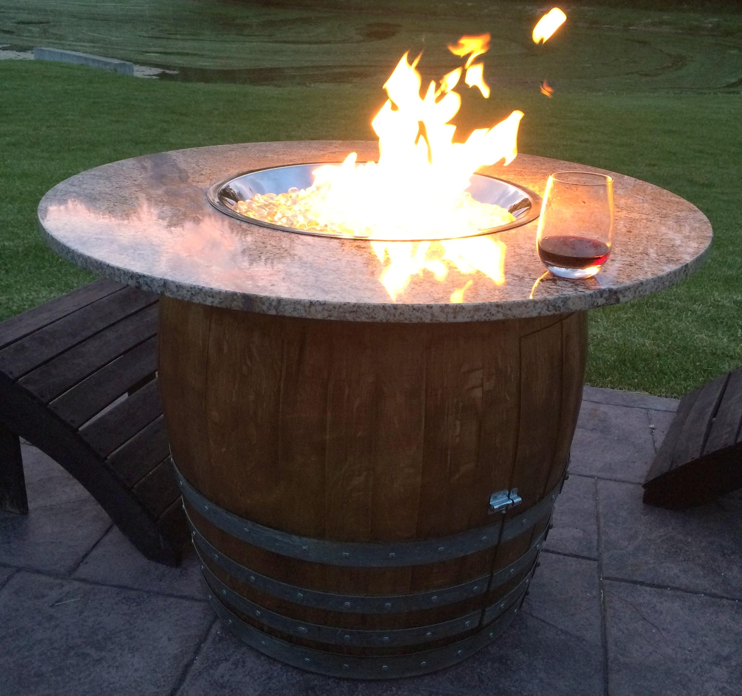 Wine Barrel Fire Table