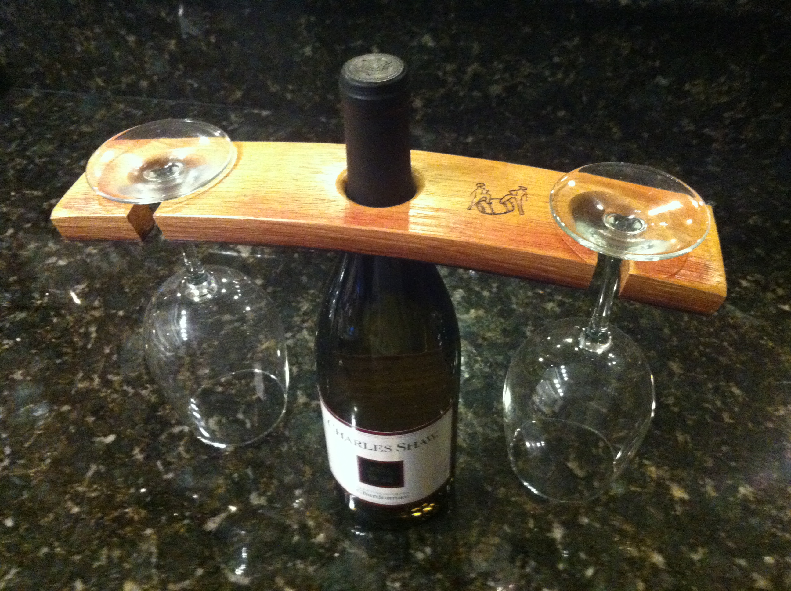 wine barrel stave wine glass holder