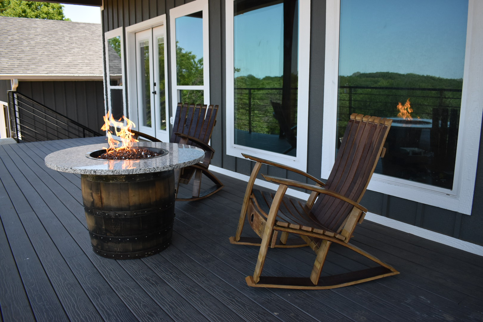Whiskey Barrel Fire Table and two rockers
